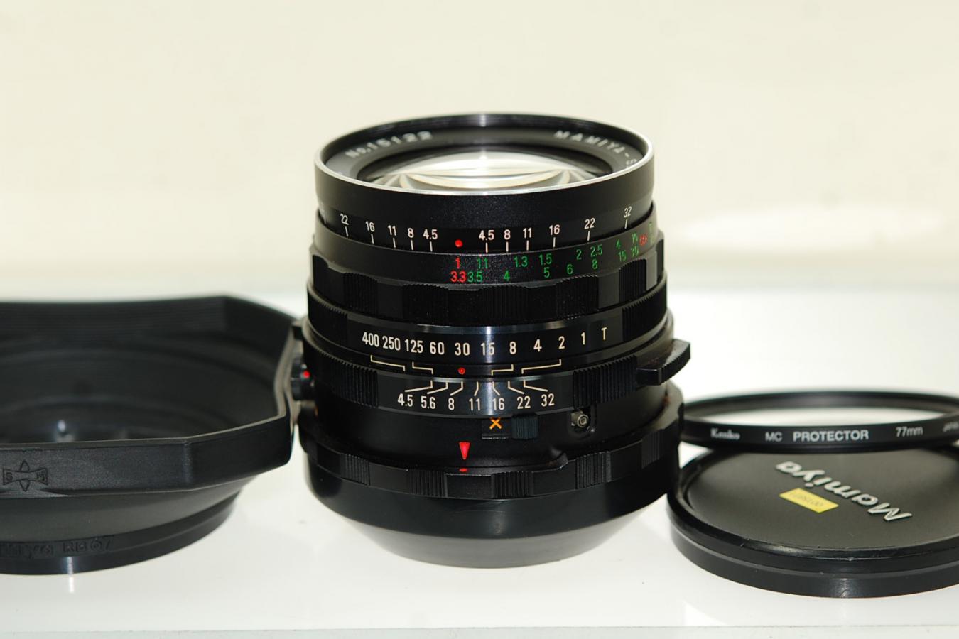 Mamiya RB67用 SEKOR 50mm F4.5 【純正フード、ケンコー製77mmMCプロテクターフィルター付】