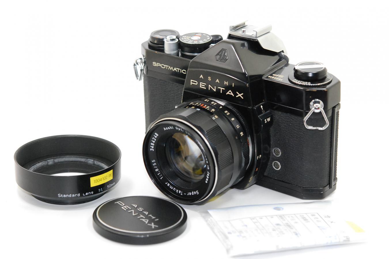 ペンタックス SP ブラック スーパータクマー55/1.8付 【整備済 純正フード、アクセサリーシュー付】