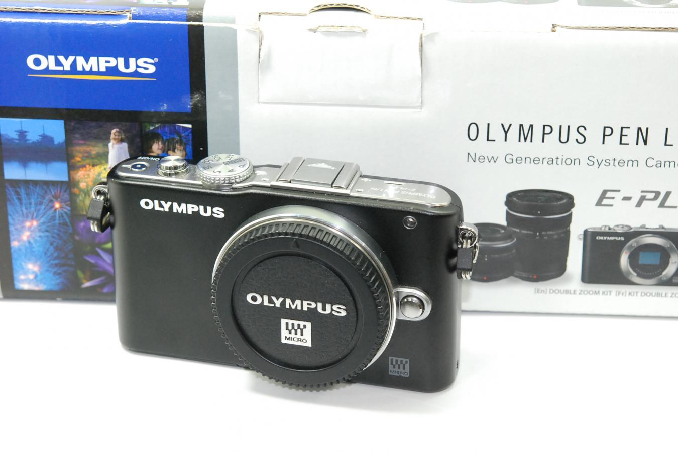 【通信販売限定商品】 OLYMPUS PEN Lite E-PL3 ブラック 【充電器、バッテリー、ストロボ、取説、元箱付一式】