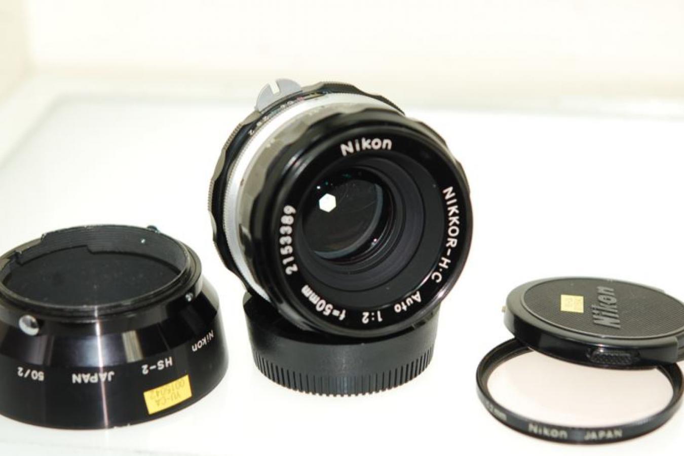 NIKKOR-H・C Auto 50mm F2 【純正フードHS-2、52mmL1Aフィルター付】
