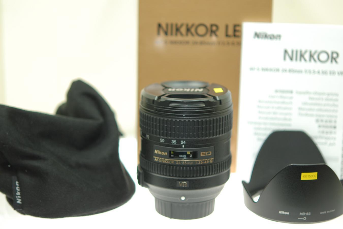 AF-S NIKKOR 24-85mm F3.5-4.5G ED VR 【純正フードHB-63、ケース、取説、元箱付一式】