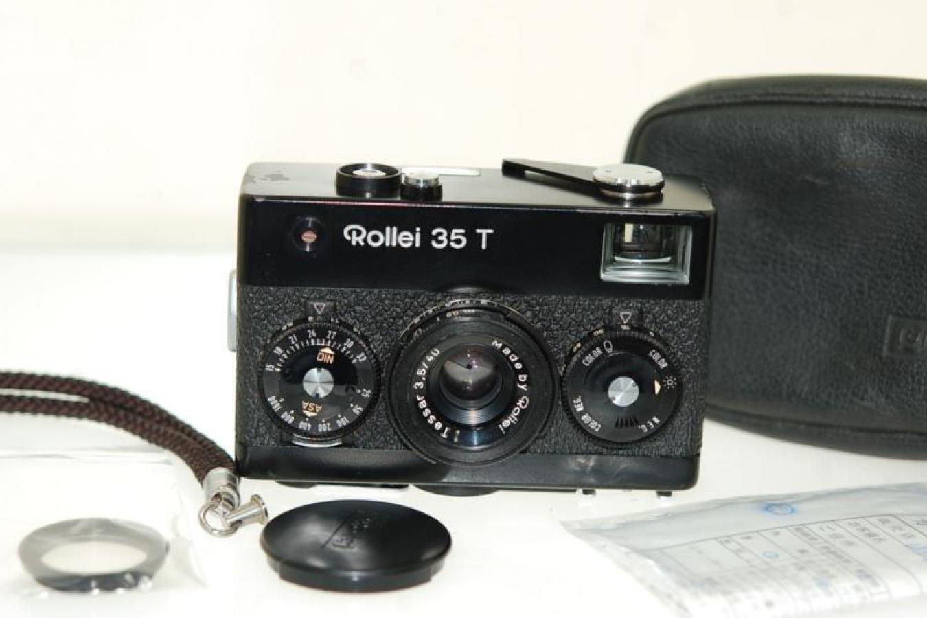Rollei 35 T ブラック 整備済 純正ケース、ストラップ、フィルター、キャップ付 【テッサー40/3.5レンズ搭載】