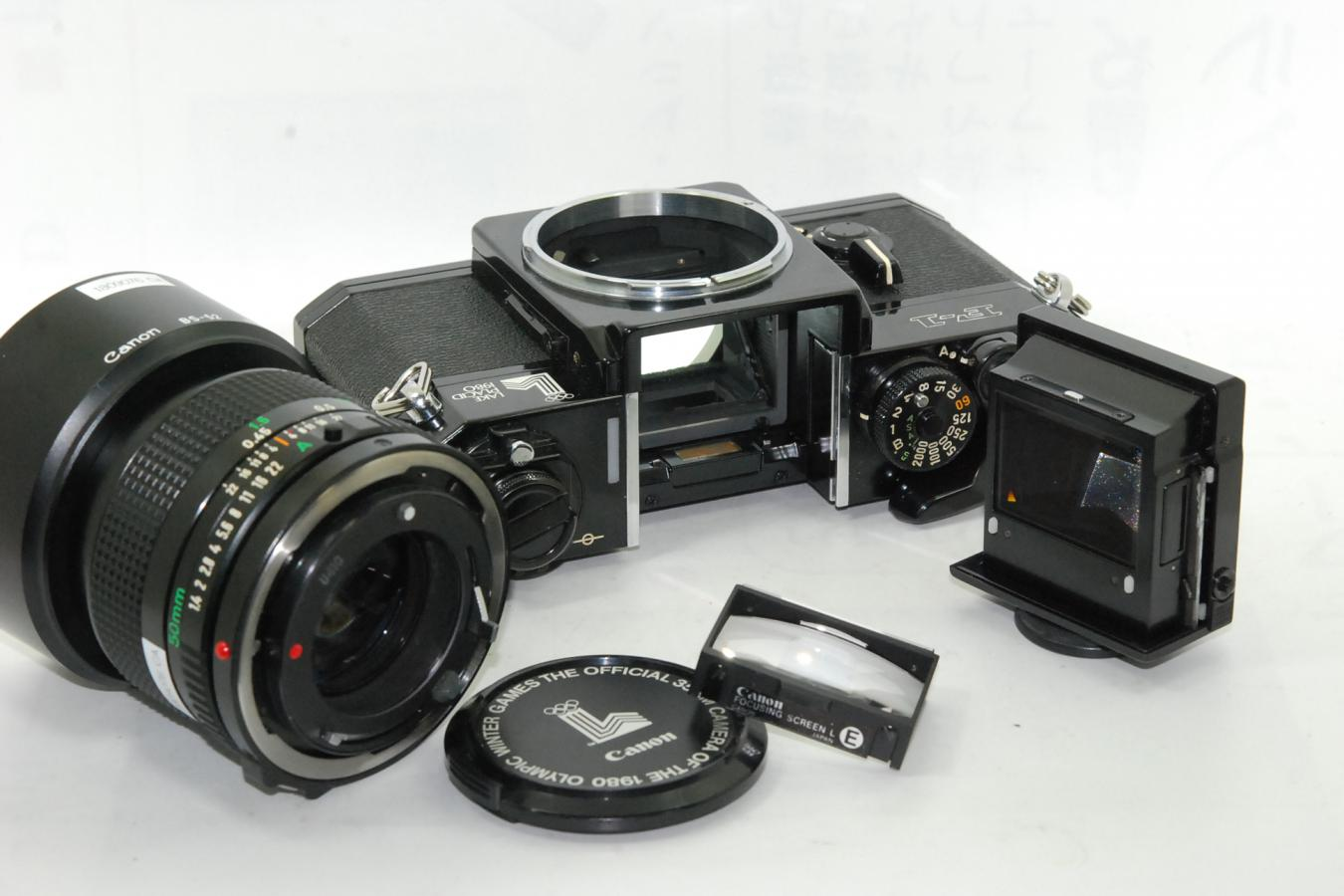 【珍 品】 キャノン F-1 LAKE PLACID 1980 記念モデル NEW FD 50/1.4付 【純正オリンピック記念レンズキャップ、フードBS-52付】