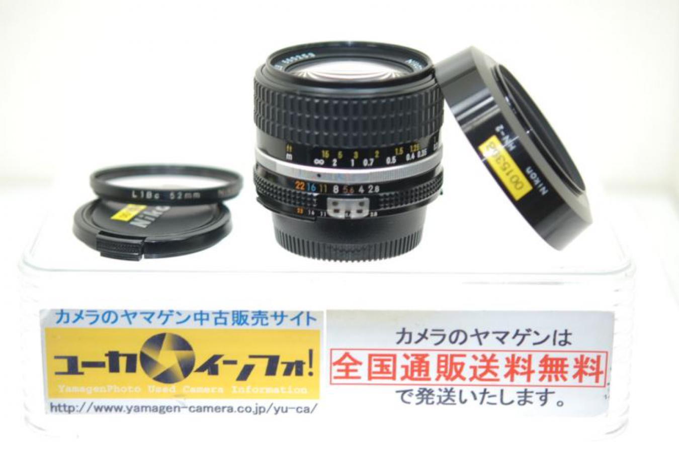 Ai-S 28mm F2.8 【純正メタルフードHN-2、52mmL1Bcフィルター付】