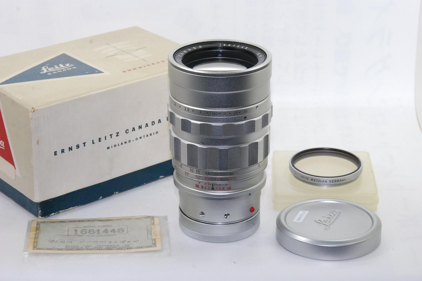 【コレクション向け】ライカ ズミクロンM 90mm F2 シルバー 第2世代 168万台1959年製 【純正UVaフィルター、ギャランティカード、元箱付】