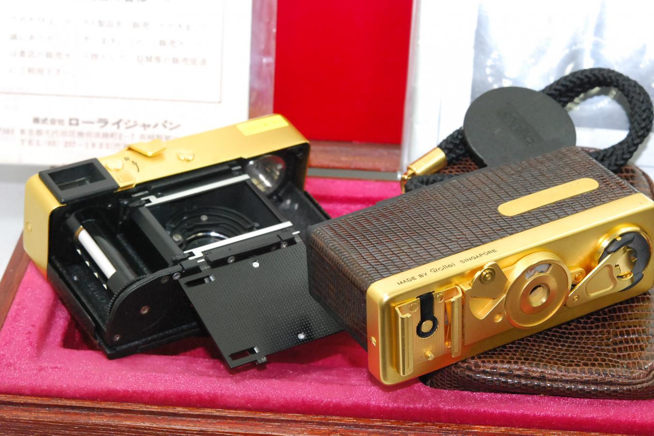 【コレクション向け】 Rollei 35S GOLD 【未記入メーカー保証書、取説、純正ケース、ストラップ、木箱、元箱付】 ※ローライ社創立60周年記念 全世界1500台限定
