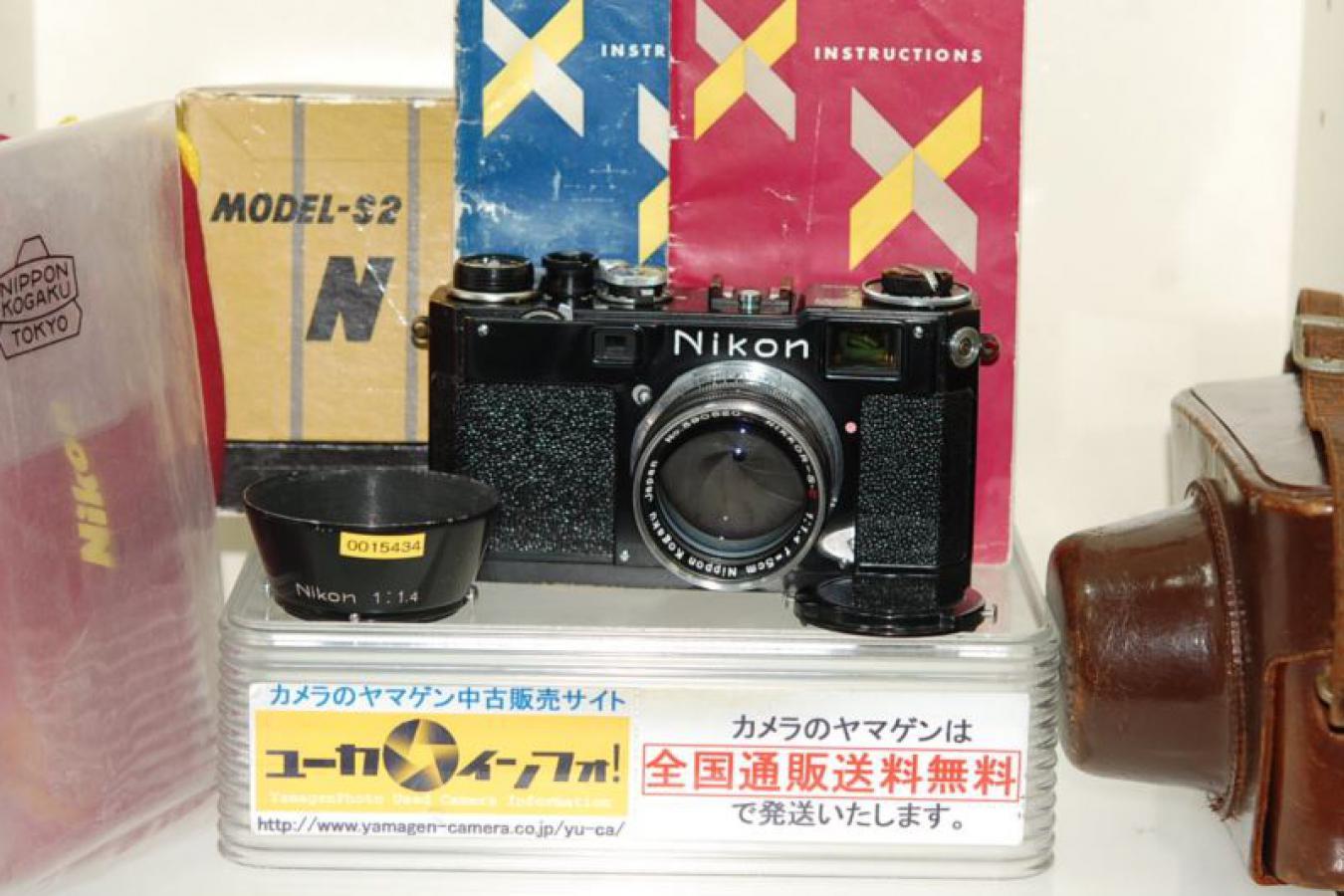 【コレクション向け 珍 品】 ニコン S2 ブラック NIKKOR-S・C 5cm F1.4付 【純正ケース、フード、取説(和文、英文)、巾着袋、元箱付一式】 ※この個体は6194000番台〜6194