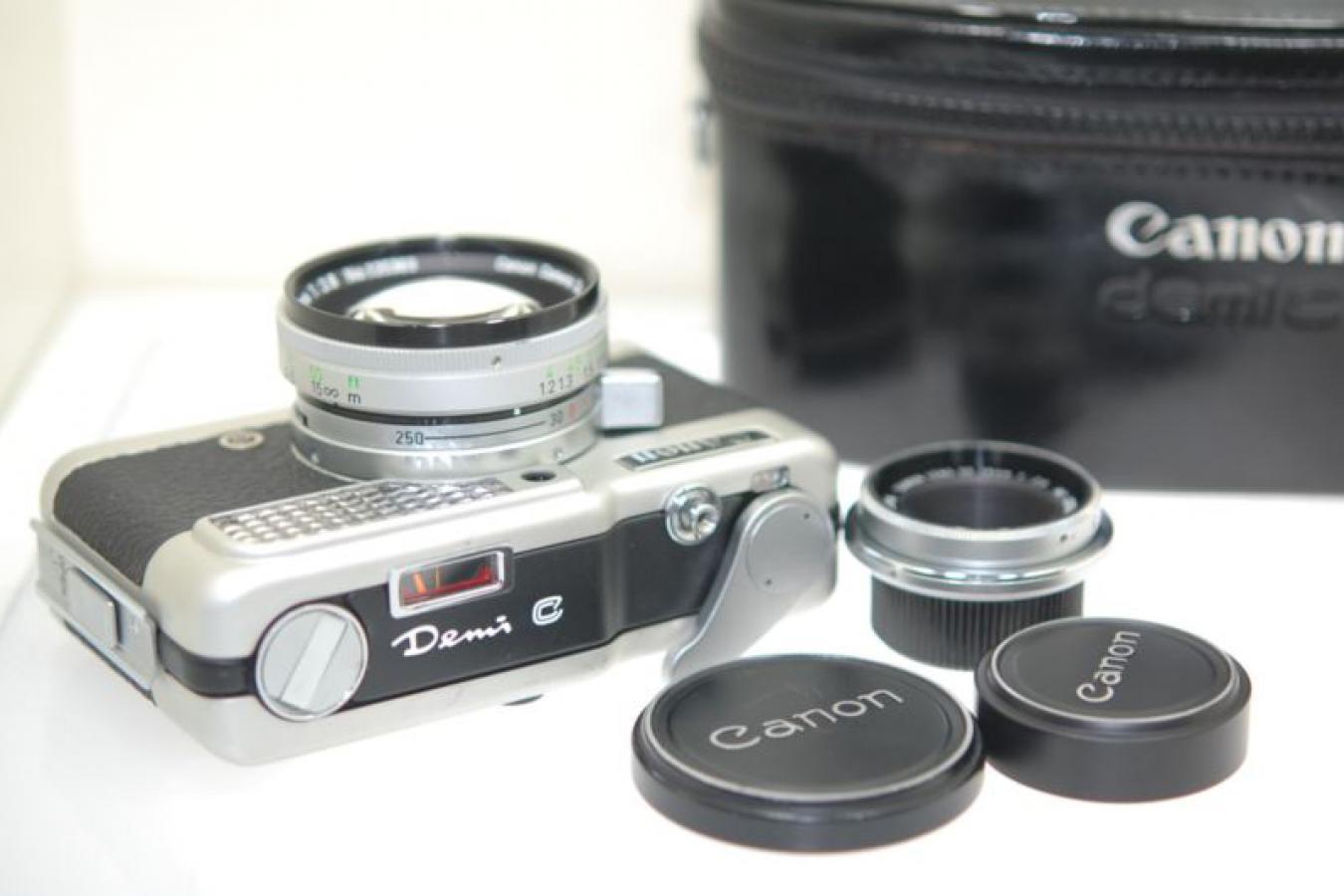 【コレクション向け】 キャノン デミC SD50/2.8、SD28/2.8付 【純正ケース、レンズ2本セット】
