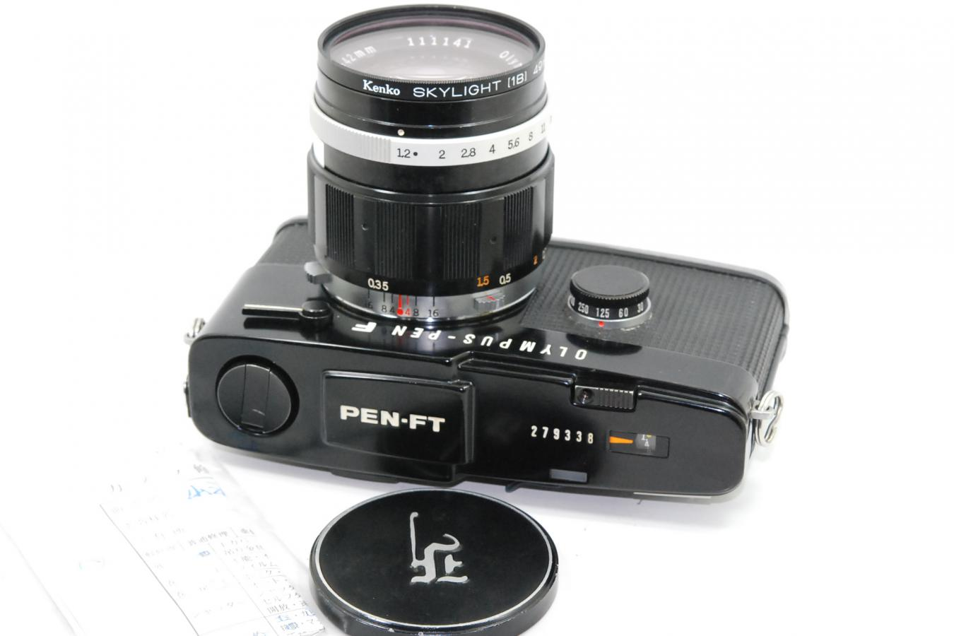 OLYMPUS PEN-FT ブラック H.Zuiko Auto-S 42/1.2付 【整備済 ケンコー製49mmスカイライトフィルター付】