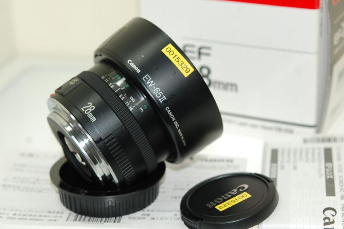 キャノン EF 28mm F2.8 【未記入メーカー保証書、純正フードEW-65II、取説、元箱付一式】