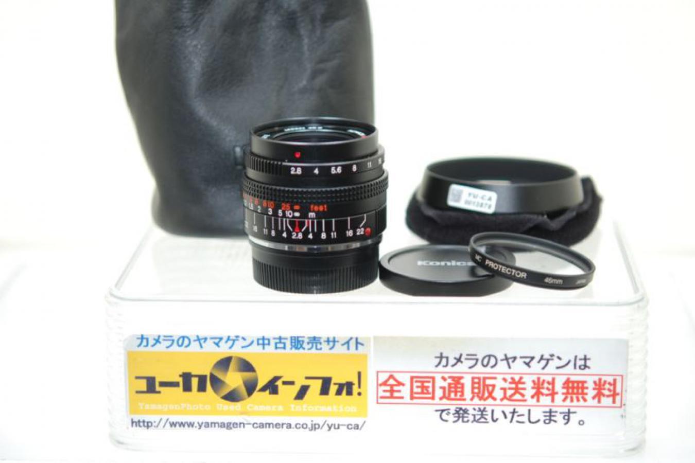 コニカ Mヘキサノン 28mm F2.8 ケンコー製46mmMCプロテクターフィルター、純正フード、ケース付 【ライカMマウントレンズ】