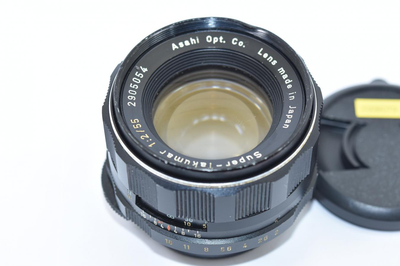 【珍 品】 PENTAX Super-Takumar 55mm F2 黄色文字 初期型【カメラ女子に絶大な人気のオールドレンズ M42マウントレンズ】